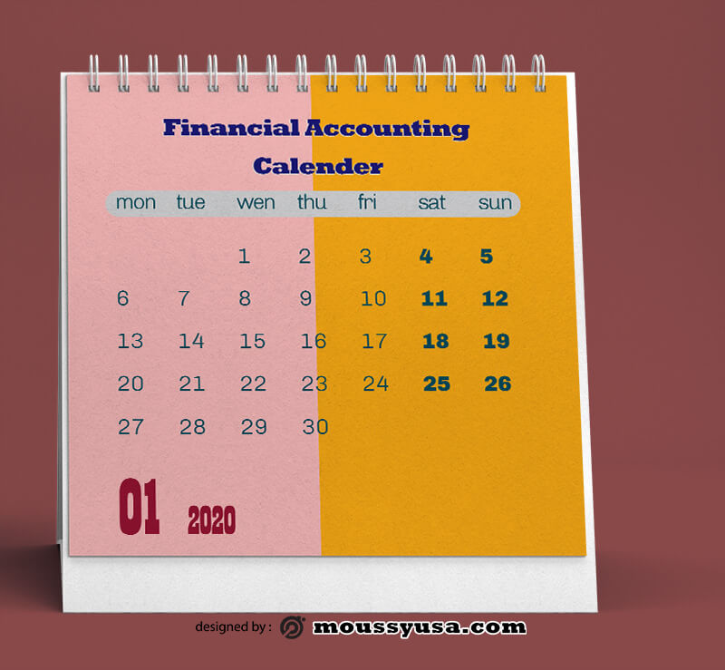 Financial Accounting Calender Design PSD