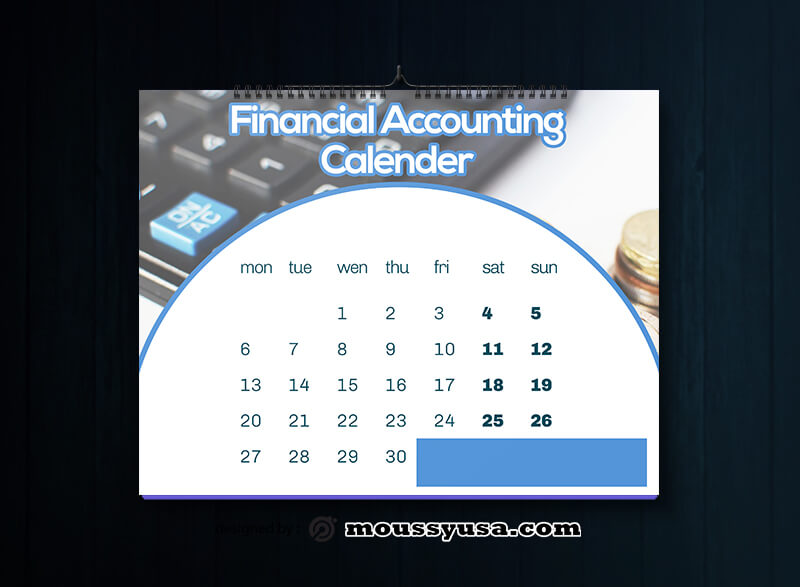 Financial Accounting Calender Design Template