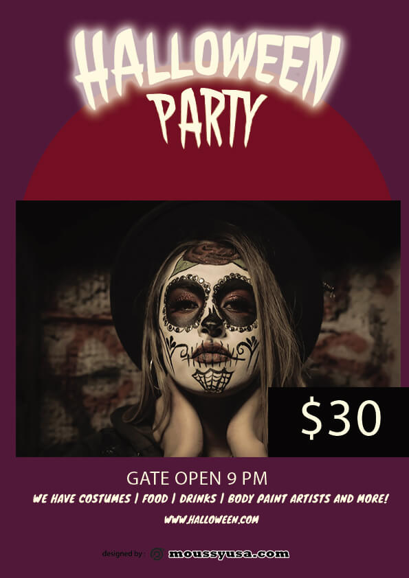 Free Halloween Skull Flyer template design