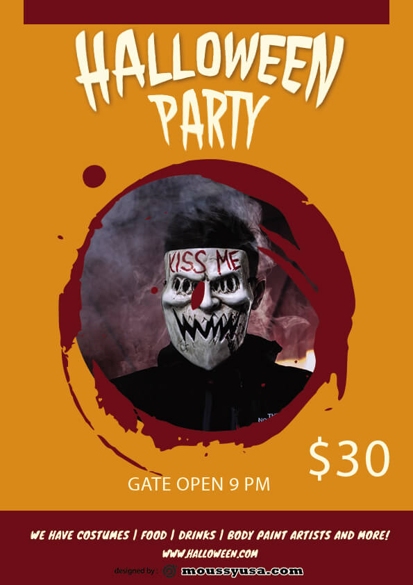 Free Halloween Skull Flyer template ideas