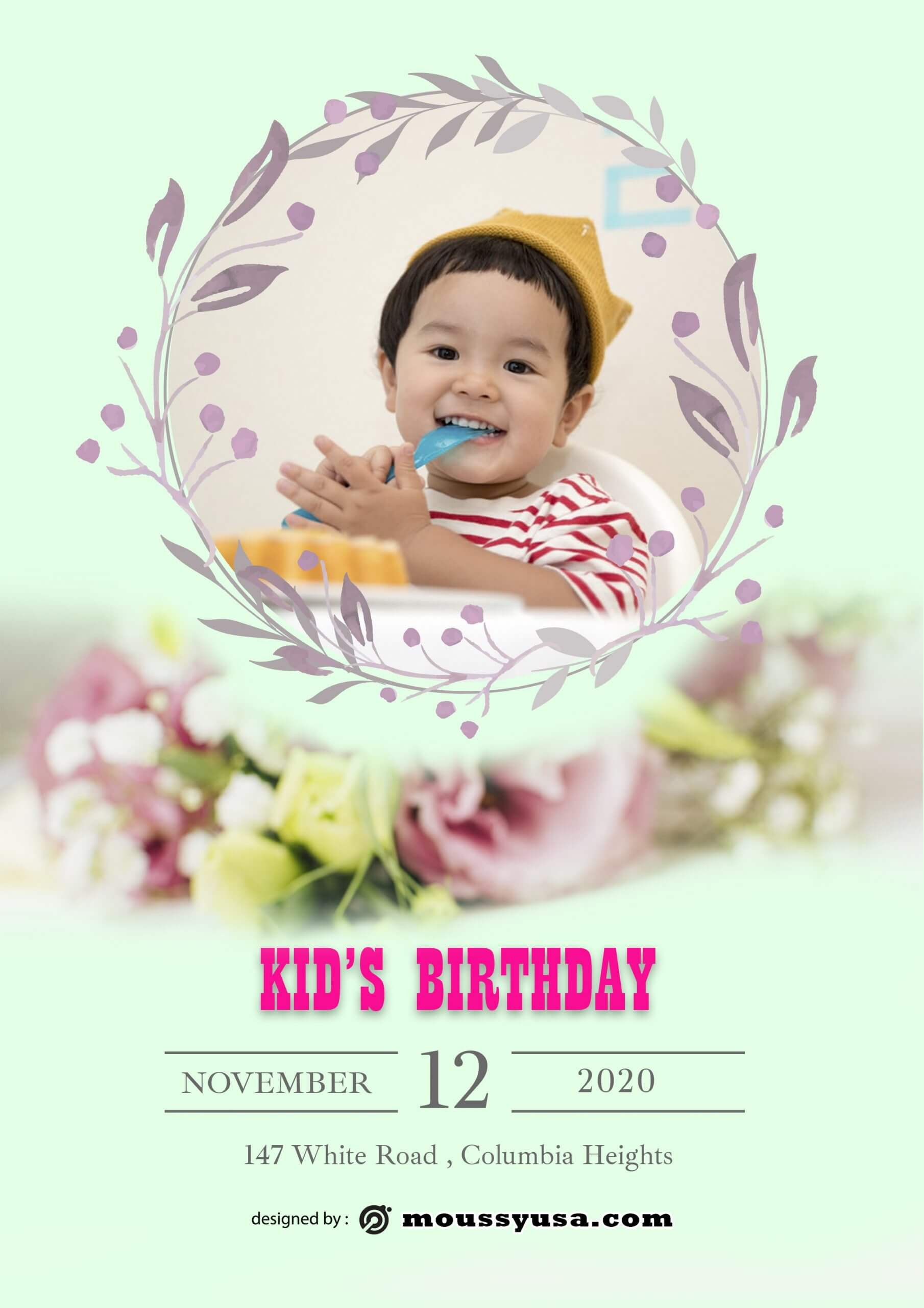 Free Kids Birthday Party Flyer template design