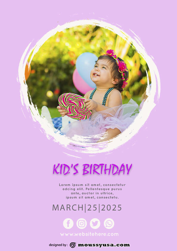 Free Kids Birthday Party Flyer template sample