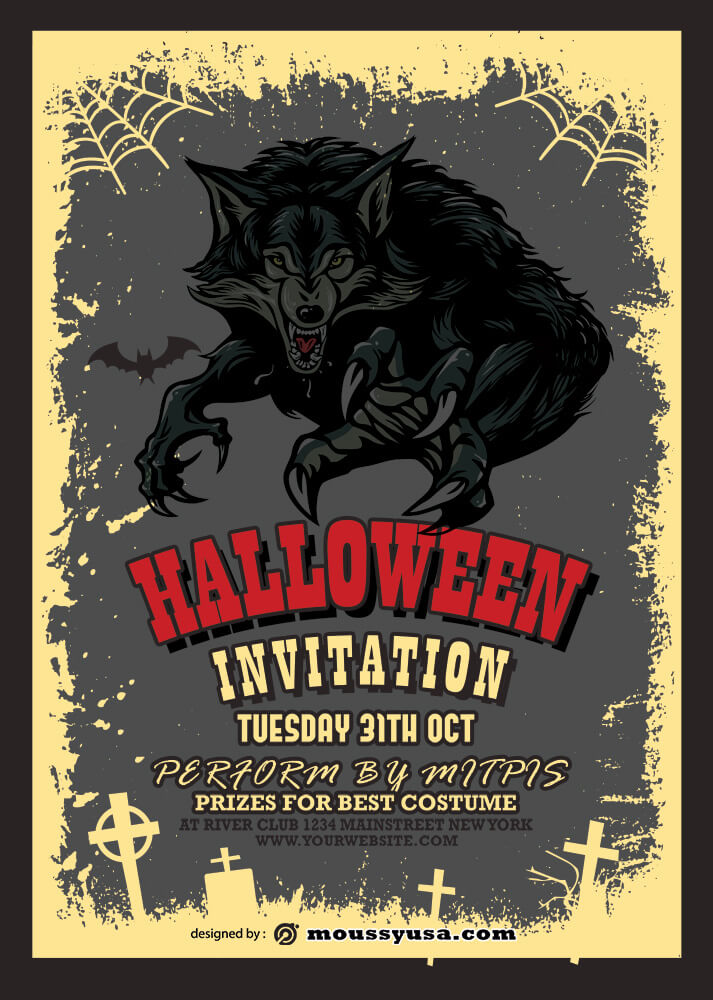 Halloween Party Invitation Template Design