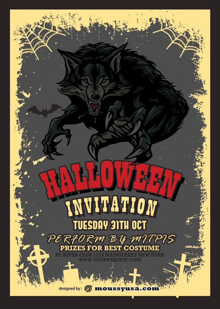 Halloween Party Invitation Template Design