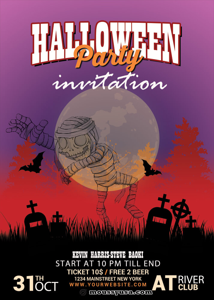 Halloween Party Invitation Template Example