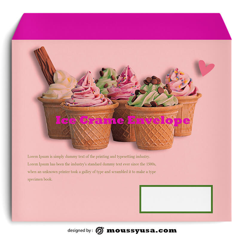 Ice Crame Envelope Template Design
