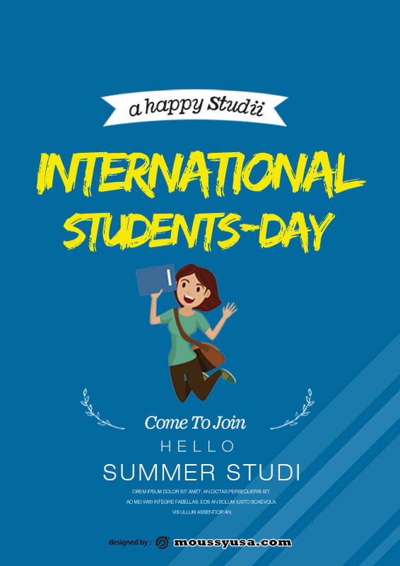 International Students Day Poster Design PSD