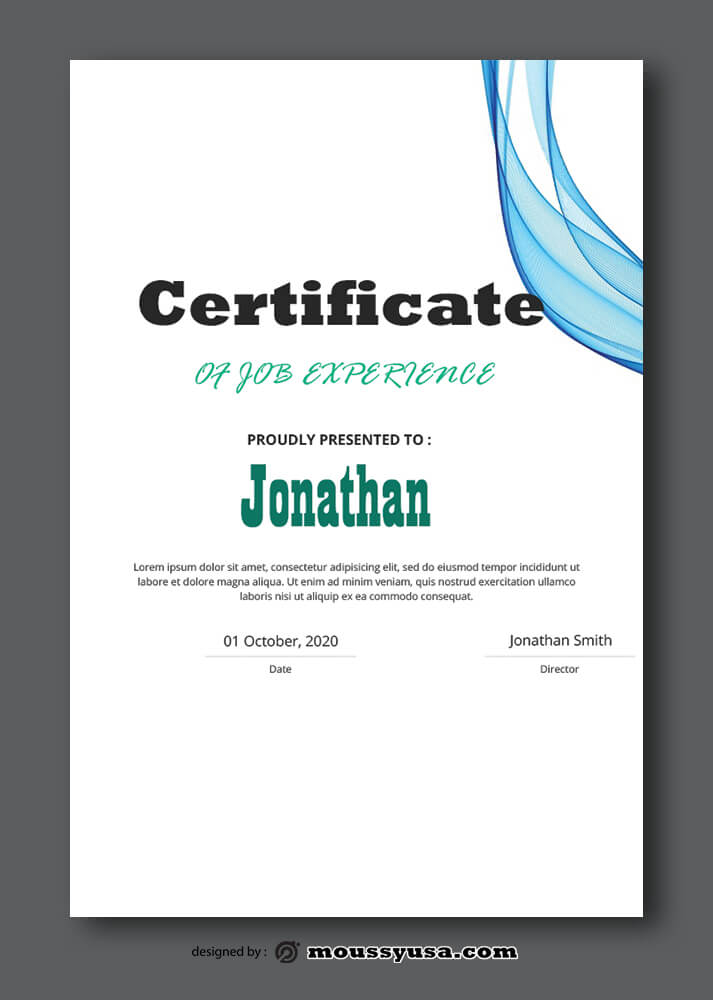 Job Experience Certificate Sample Template