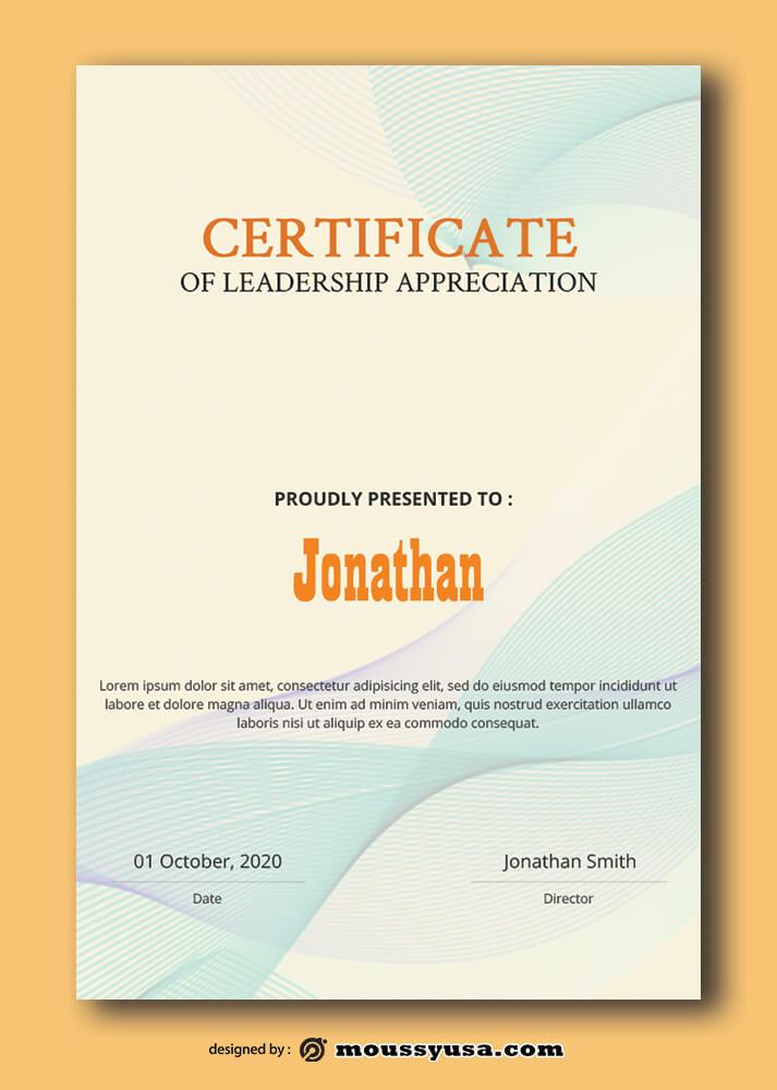 Leadership Certificate Template Sample
