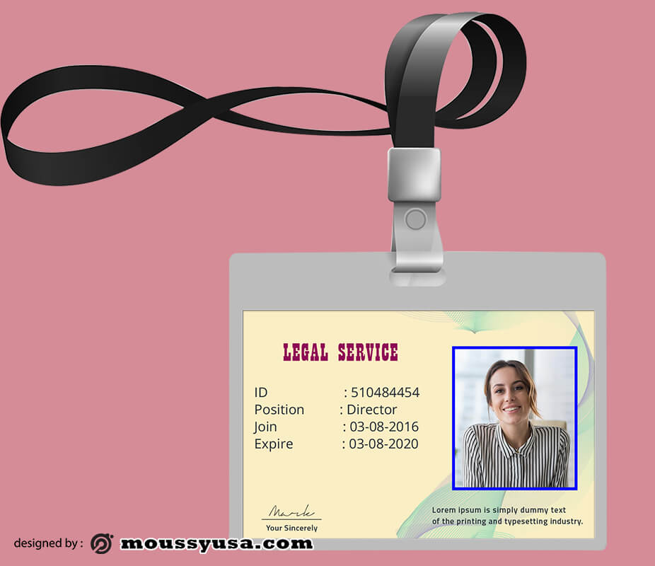 Legal Service ID Card Template Ideas