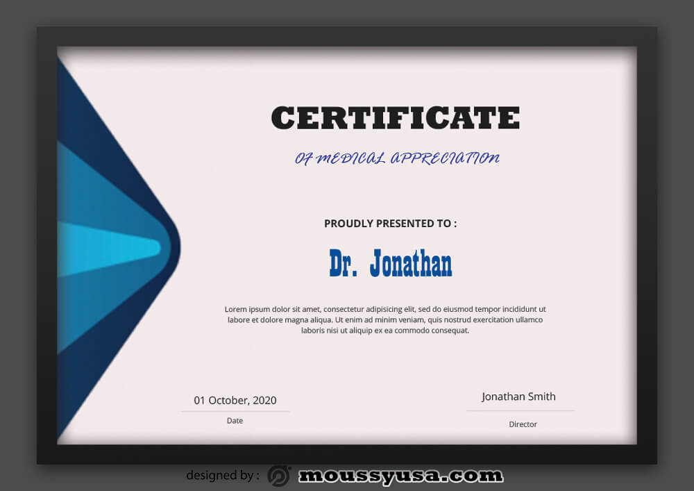 Medical Certificate Design PSD