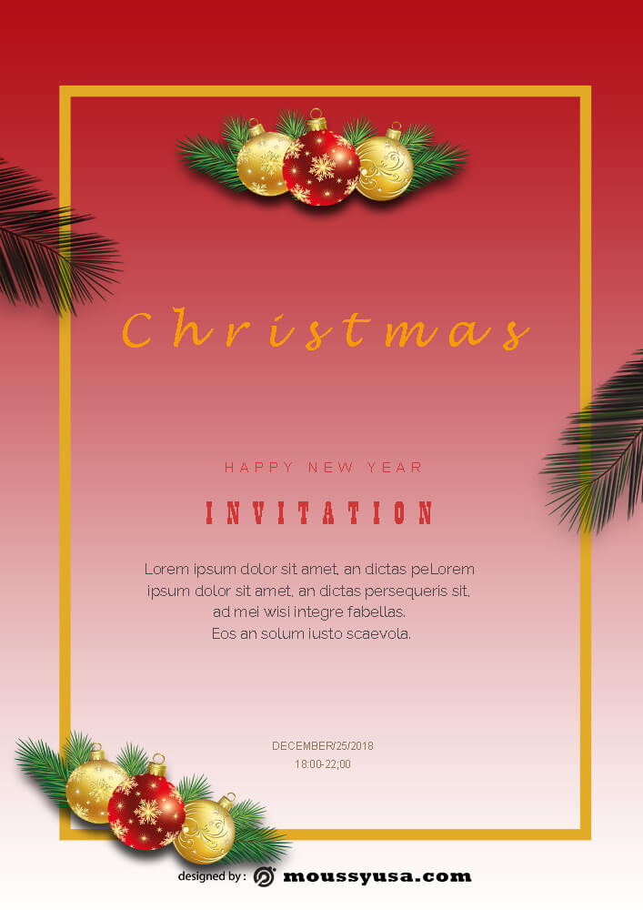 Merry Christmas Invitation Template Ideas