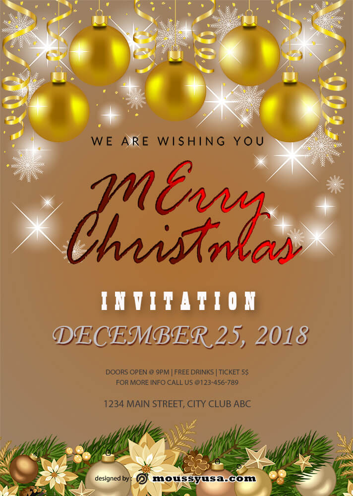 Merry Christmas Invitation Template Sample