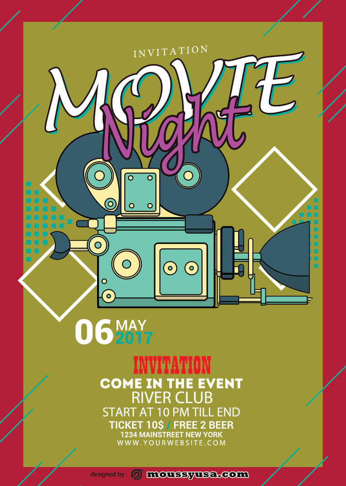 Movie Night Invitation Template Ideas