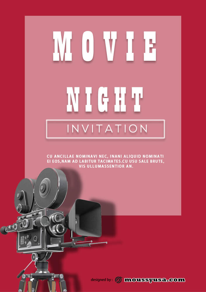 Movie Night Invitation Template Sample