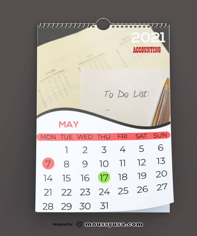 PSD Accounting Calender Template