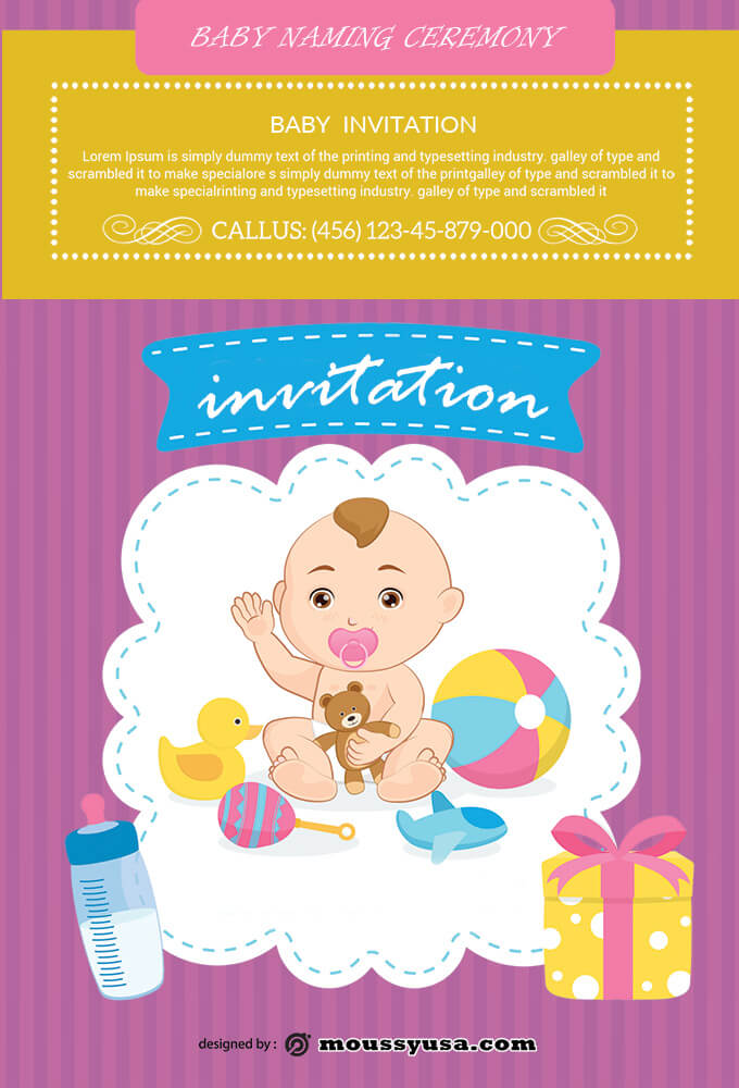 PSD Baby Naming Ceremony Invitation Template
