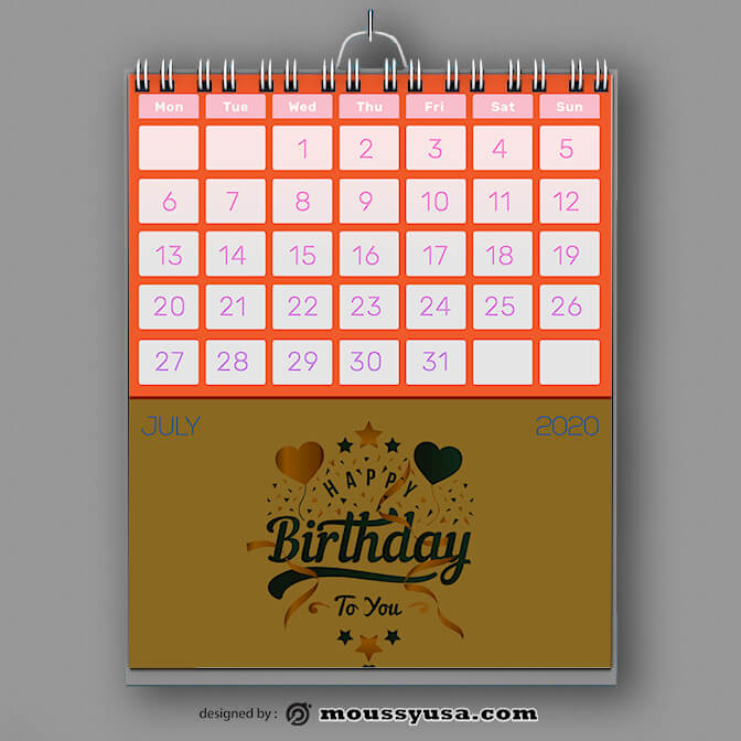 PSD Birthday Party Calender Template