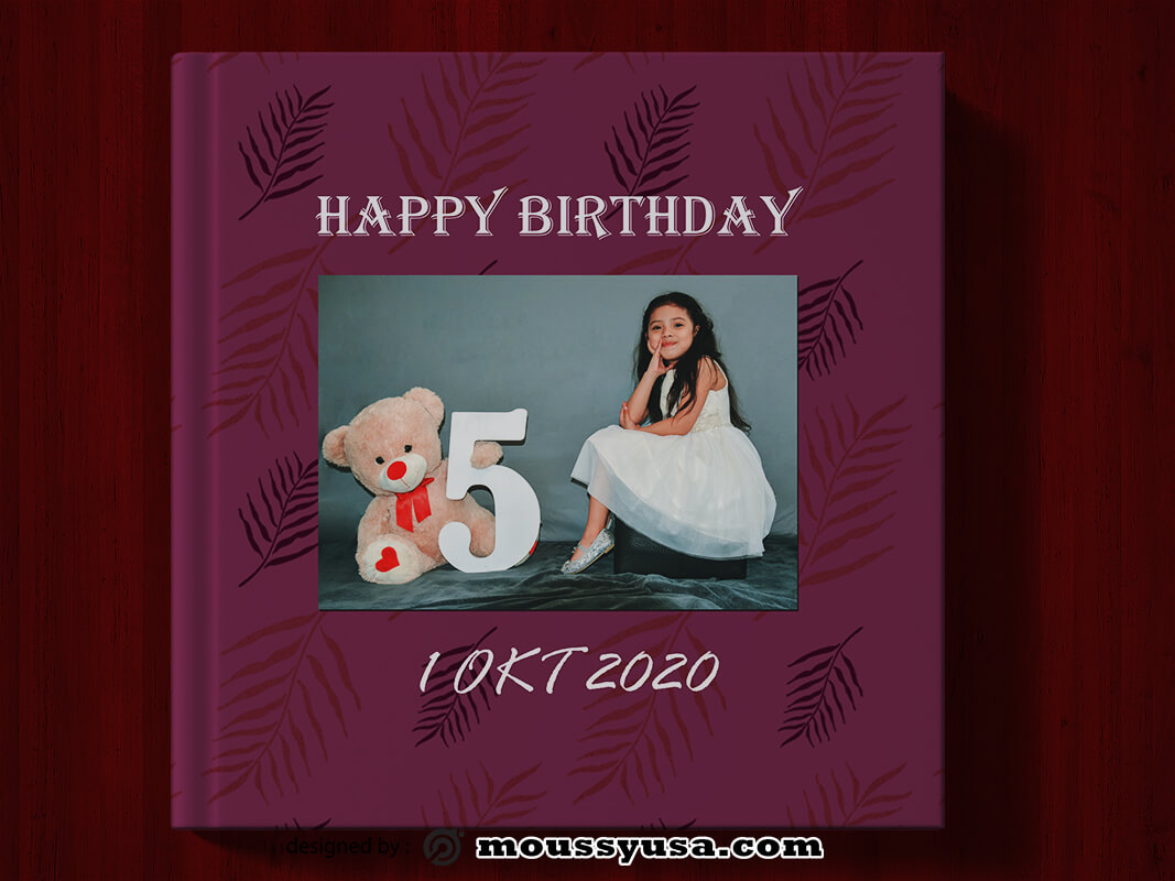 PSD Birthday Photo Book Cover Template