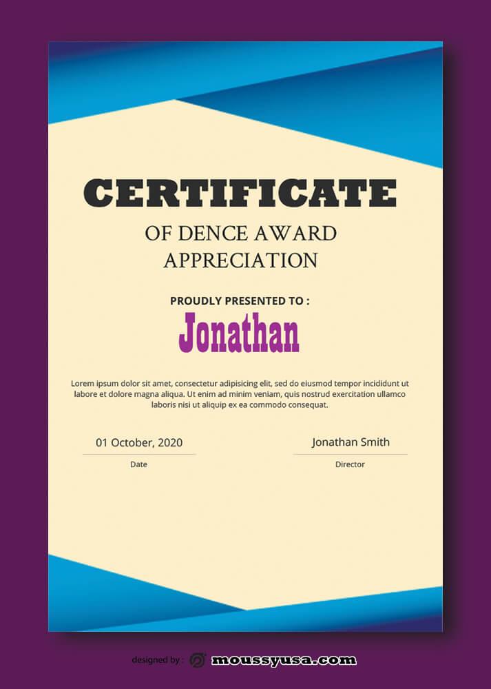 PSD Dence Award Certificate Template