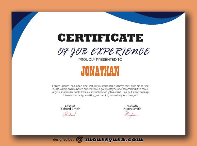 PSD Job Experience Certificate Template