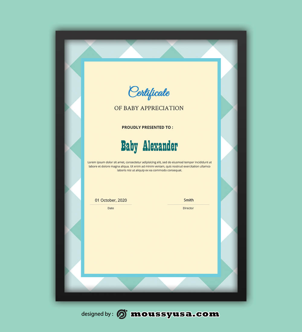 PSD Template For Baby Certificate