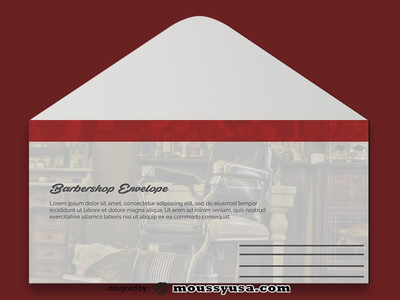 PSD Template For Barbershop Envelope
