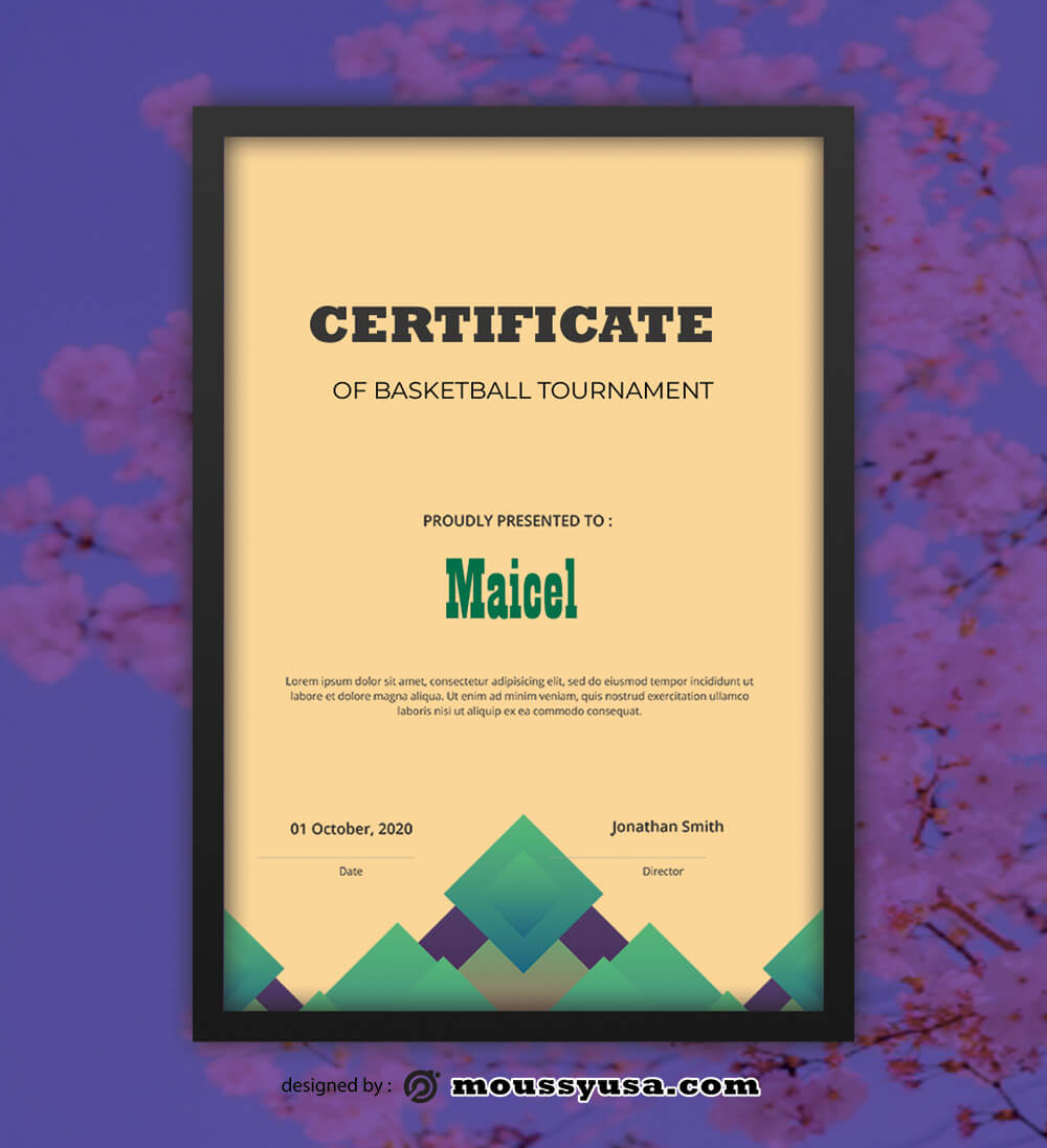 PSD Template For Basketball Tournament Certificate