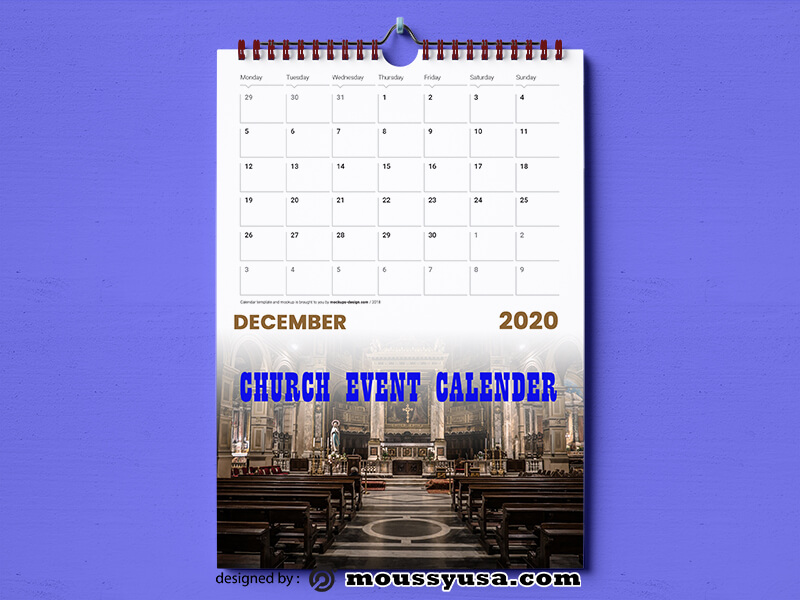 PSD Template For Church Event Calender