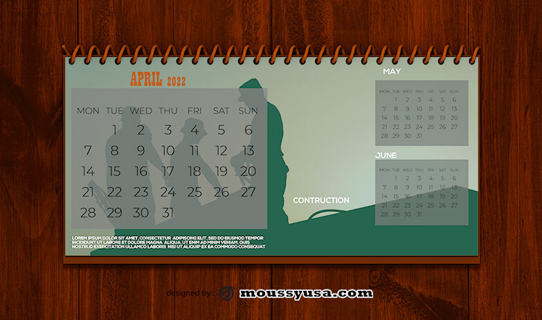PSD Template For Construction Calender