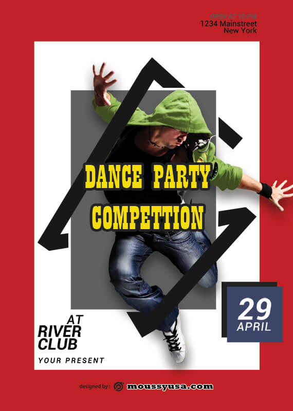 PSD Template For Dance Party Poster