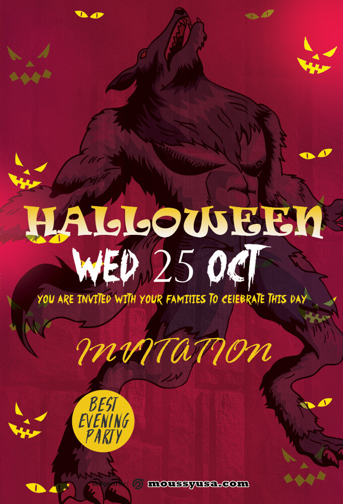 PSD Template For Halloween Party Invitation