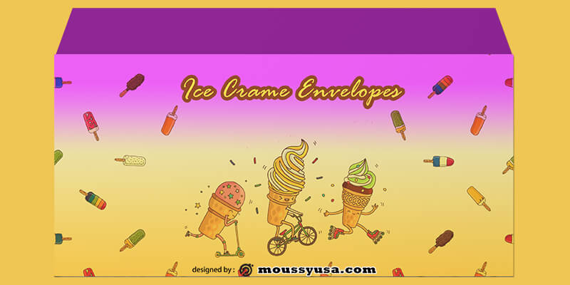 PSD Template For Ice Crame Envelope