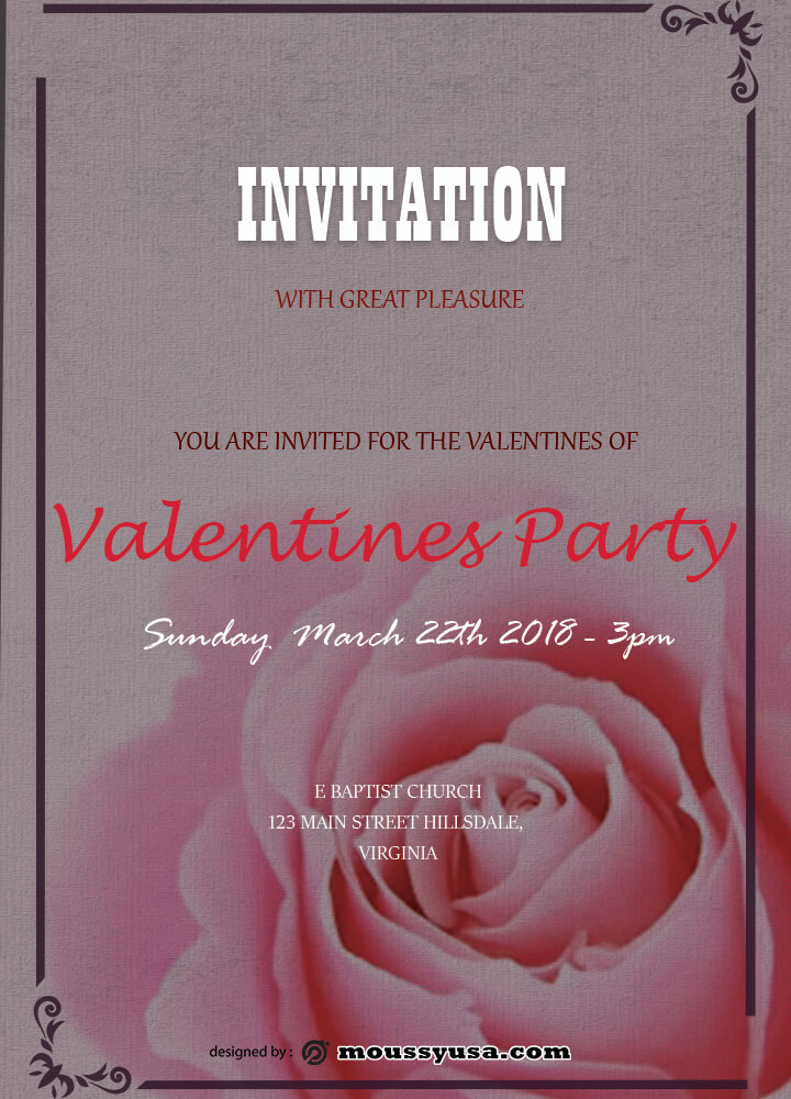PSD Template For Invitation Valentines Party
