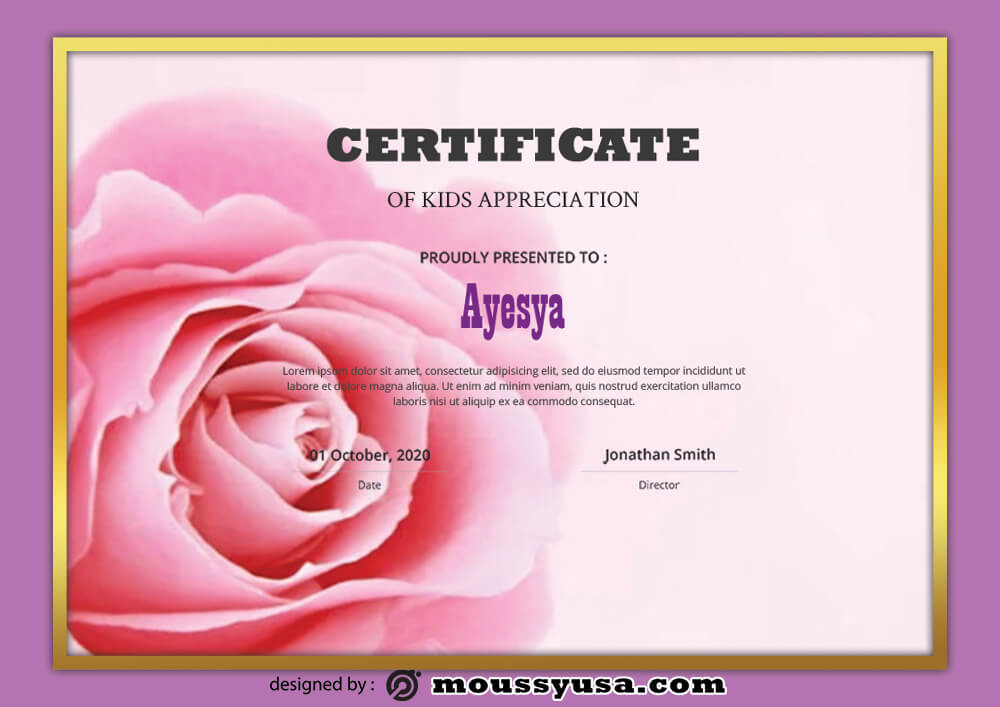 PSD Template For Kids Certificate