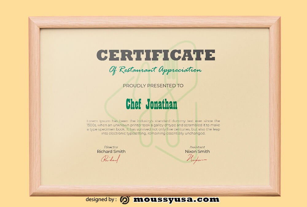 PSD Template For Restaurant Certificate