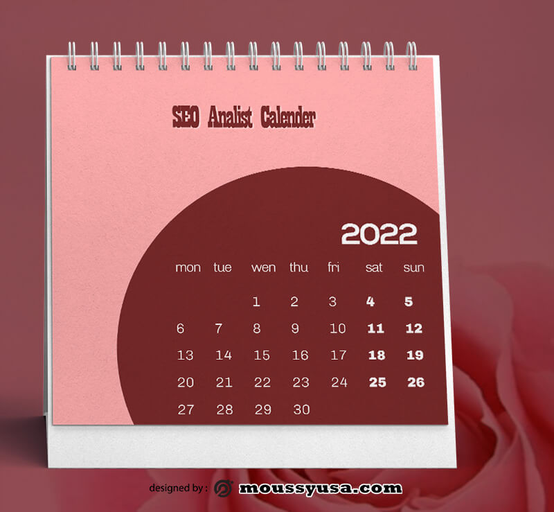 PSD Template For SEO Calender