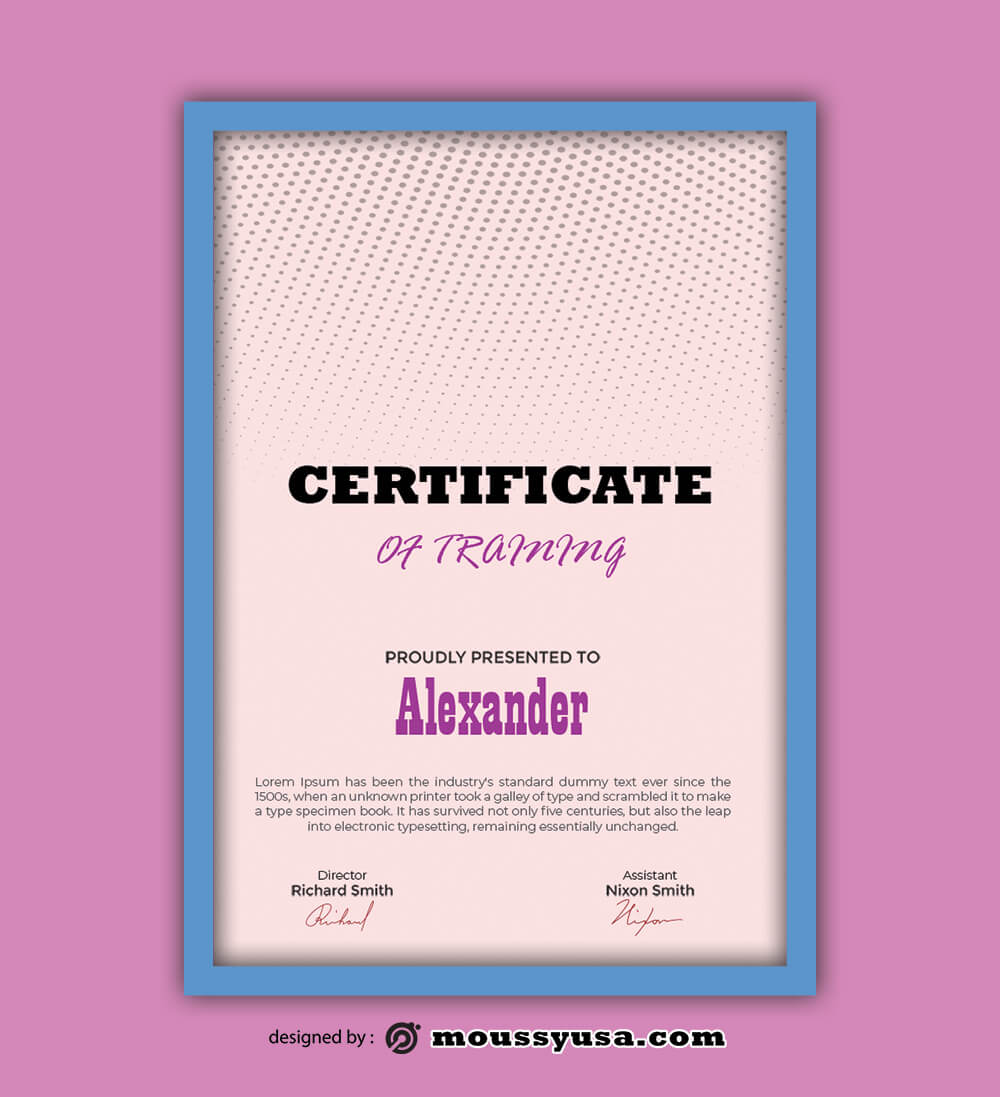 PSD Template For Training Certificate