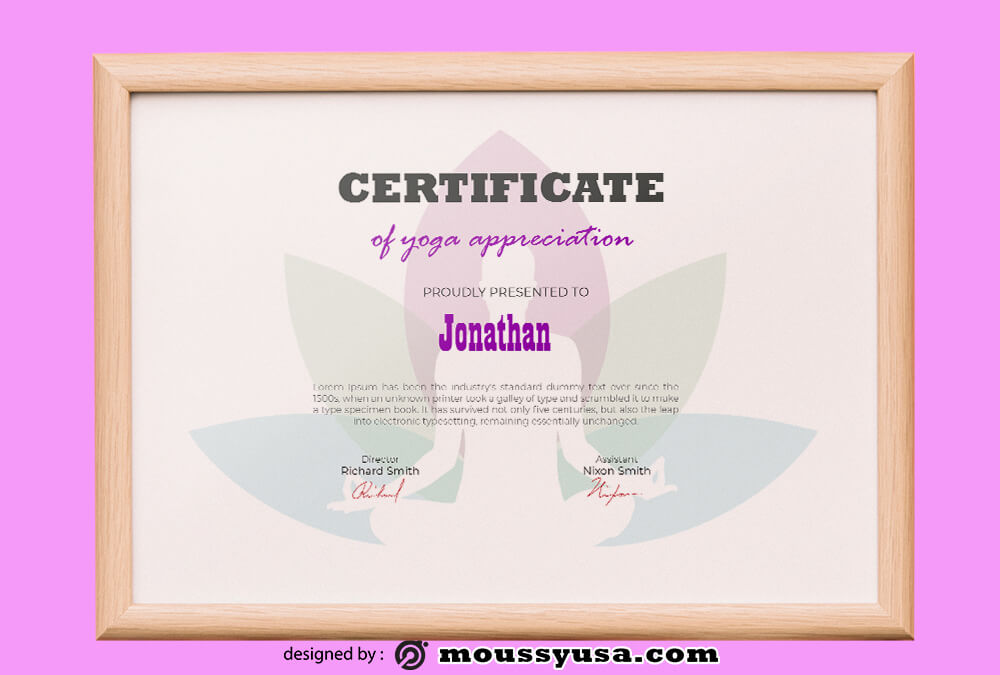 PSD Template For Yoga Certificate