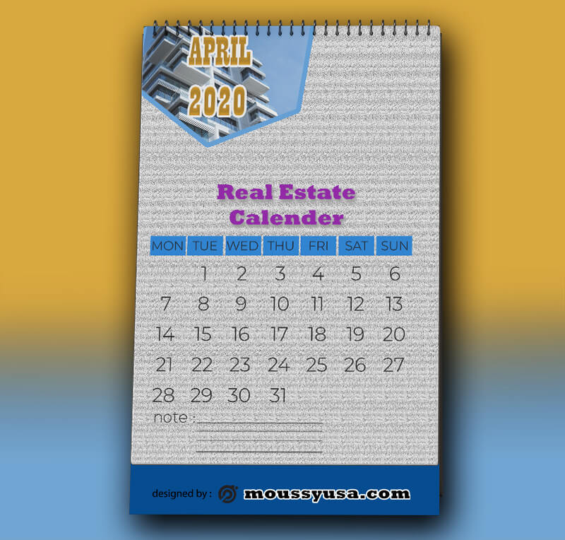 Real Estate Calender Template Sempel
