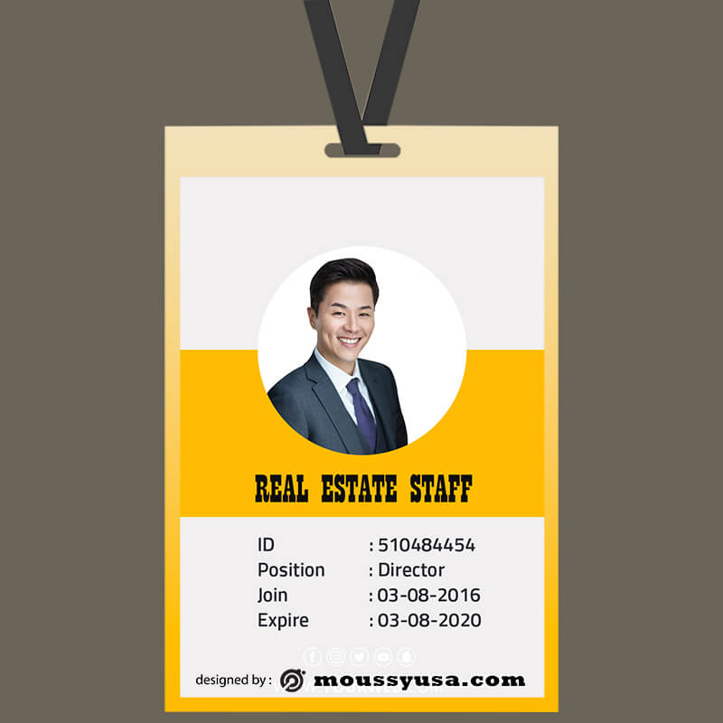 Real Estate ID Card Template Sample