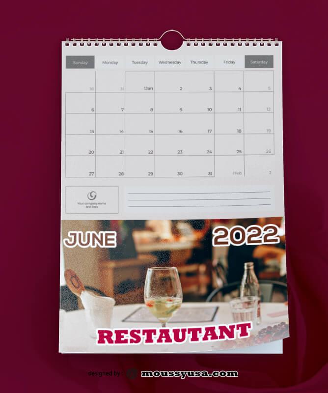 Restaurant Calender Template Sample