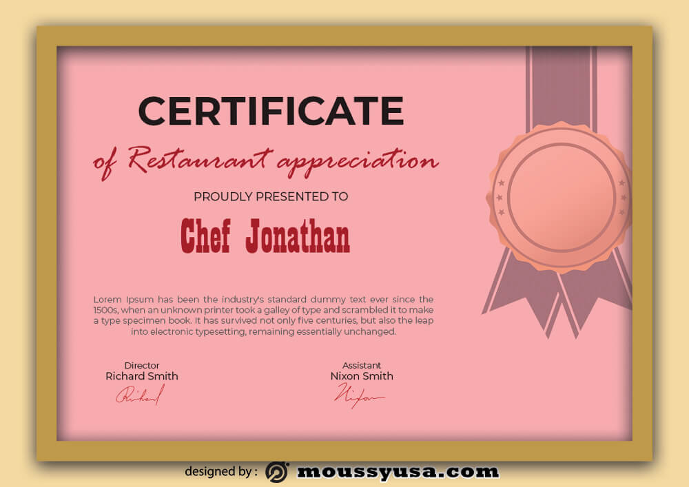 Restaurant Certificate Template Design