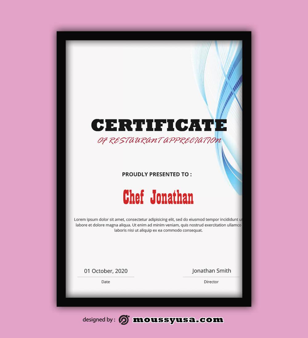 Restaurant Certificate Template Example