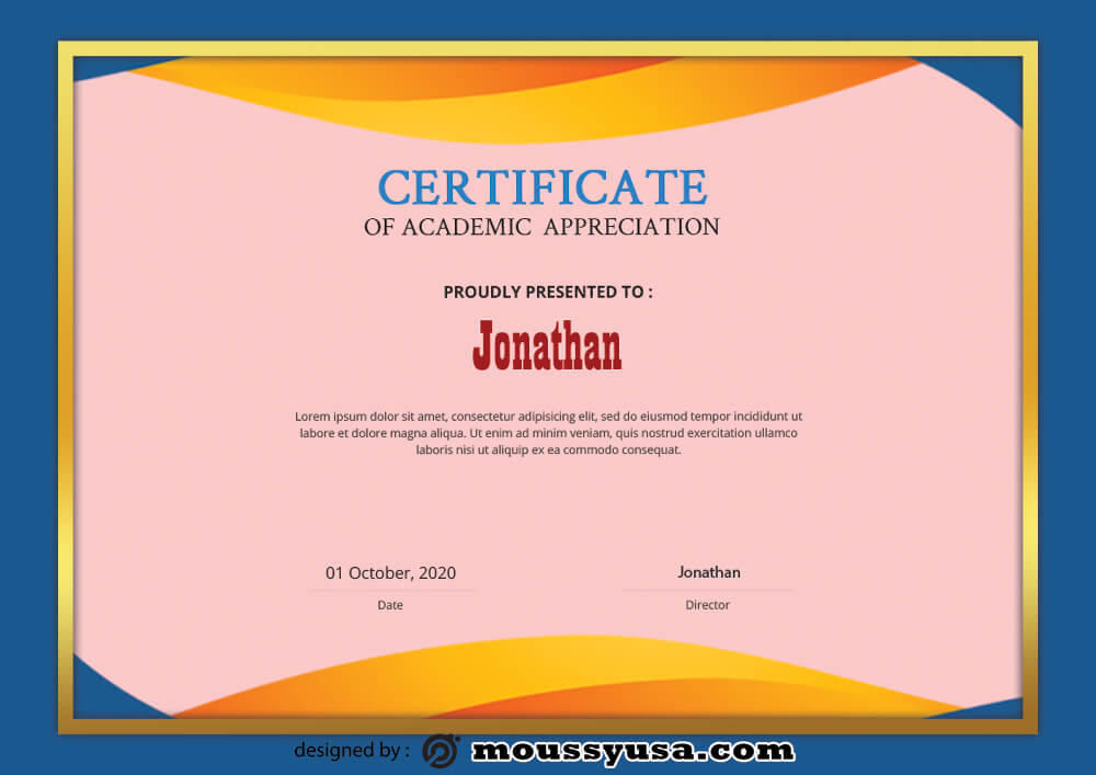 Sample Academic Certificate Templates