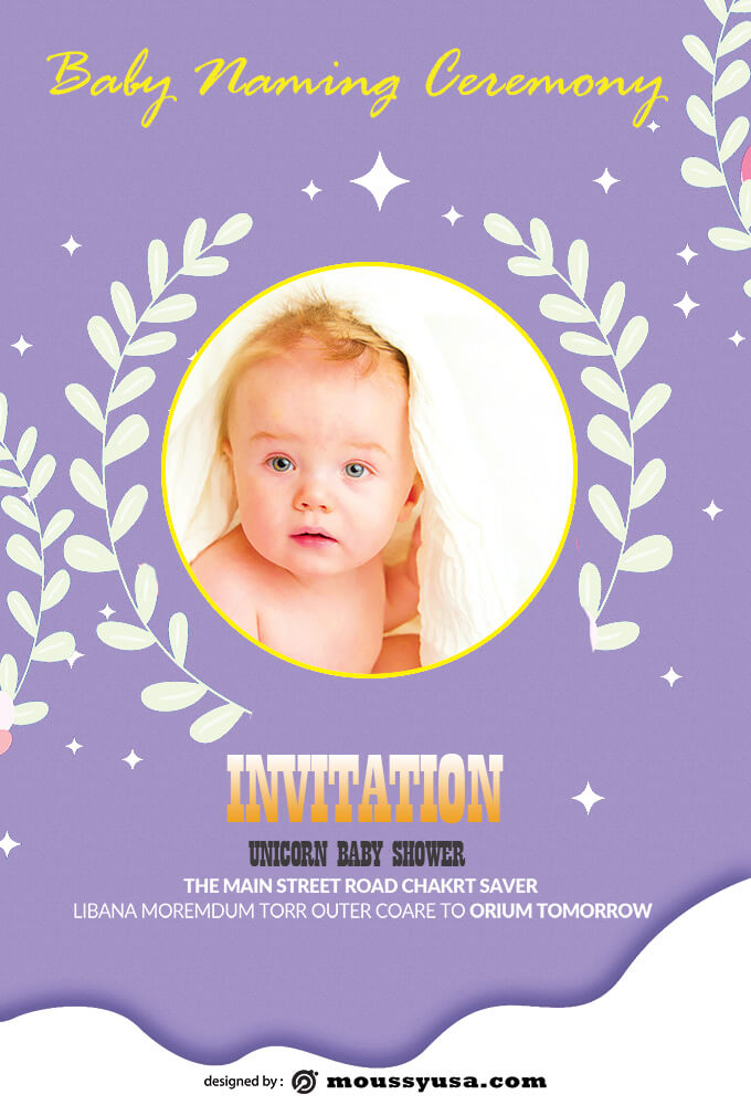 Sample Baby Naming Ceremony Invitation Template