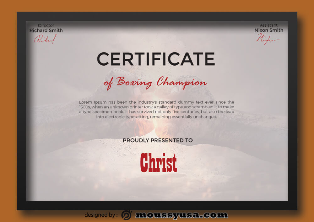 Sample Boxing Champion Certificate Template