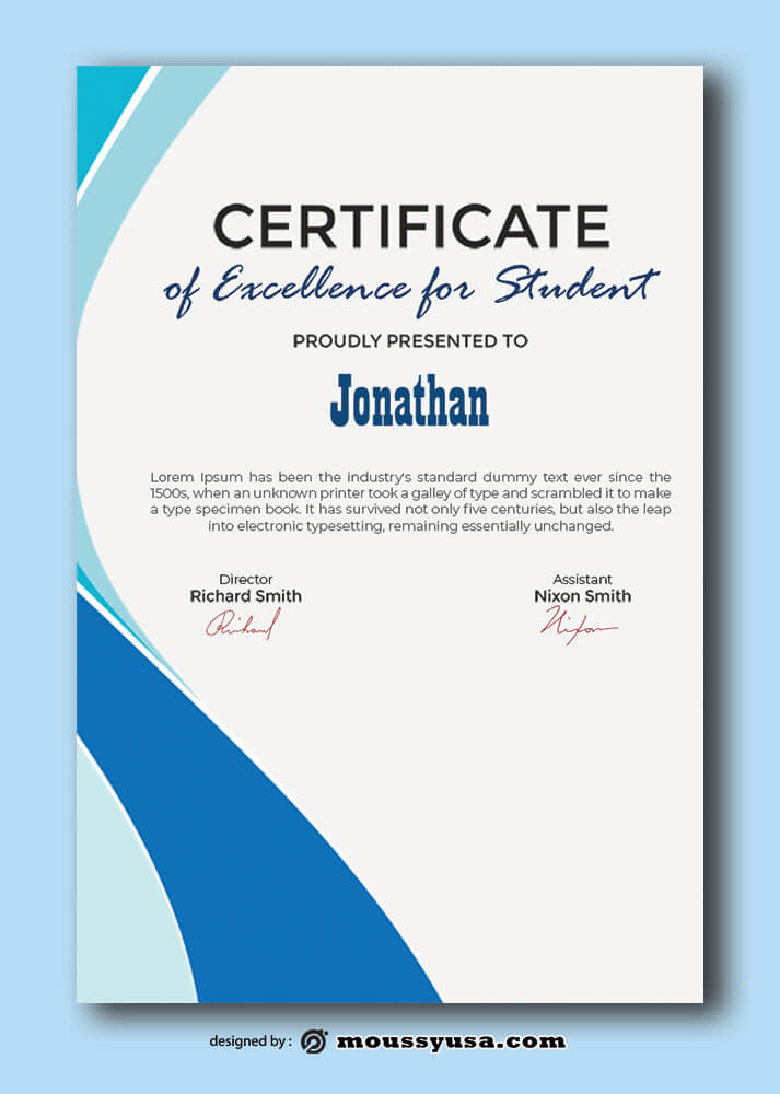 Sample Excellence For Studentc Certificate Templates