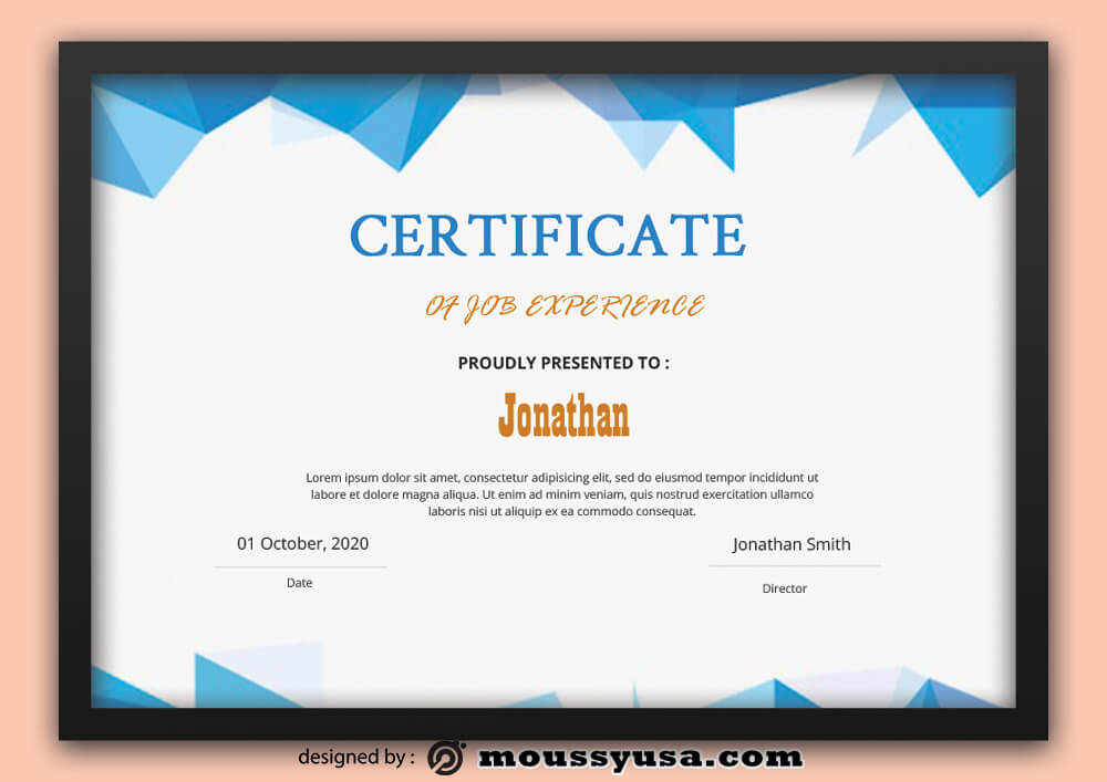 Sample Job Experience Certificate Template