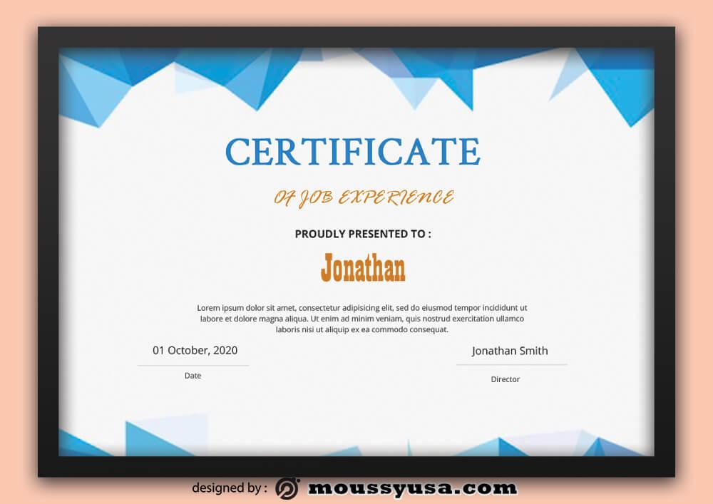Sample Job Experience Certificate Template